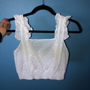 Lightly worn, white cropped top from Nordstrom BP
